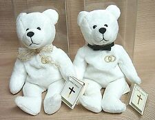 """2 HOLY WEDDING BEARS Sacrament Series 1999 """"UNITY"""" Mint in PLASTIC Display Cases"""
