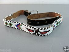 BEADED LEATHER BELT NATIVE AMERICAN ART GLASS WESTERN 26 HAND CRAFTED USA VTG