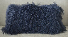 Mongolian Tibetan Lamb Dark Blue Fur Pillow Navy New usa made Real Tibet cushion