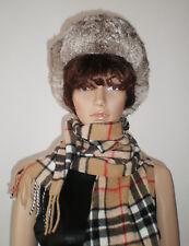 Real Rabbit Fur Hat, Russian Style, Ushanka, Unisex, size 58