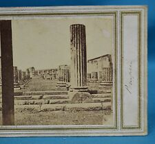 1860s Italy Stereoview Photo Basilique Pompeii Early Manuscript Title