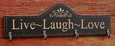 """Live Laugh Love"" Wooden Wall Plaque / Key Hanger Hook 13"" Long Metal Hooks"