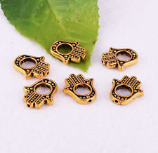10pcs Gold Hamsa Hand Loose Charm Spacer Beads Frame Jewelry 15x13mm