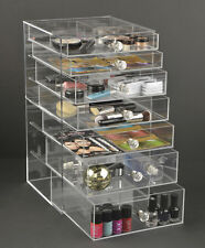 GlamoureBox Makeup Organizer 7 Drawers Crystal Knob Handles Clear Acrylic A7R-K