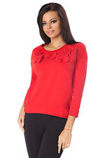Womens Asymmetric Top With Bows 3/4 Sleeve Casual Blouse Jumper Size 8-12 FT2300