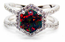 Sterling Silver Black Fire Opal And Diamond 4.84ct Ring (925) Size 7 (N)