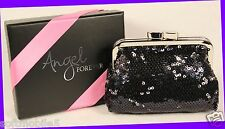 Victoria's Secret ANGEL FOREVER Black Sequin Purse Clutch Coin Wallet GIFT BOX