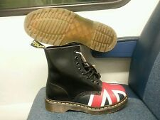 DR MARETNS WOMEN UNION JACK 8-EYE BLACK LEATHER  BOOT SIZE: 6