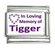 Italian Charms Custom Made In Loving Memory of Cat Name Purple
