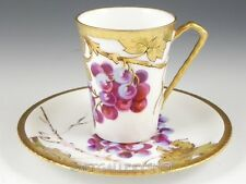 Antique Limoges France CUP & SAUCER HANDPAINTED GRAPES GOLD GILDED Artist Signed