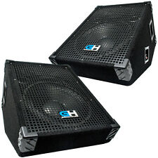 1400W Pair of Passive Wedge Monitor Stage PA Speaker for Band DJ Karaoke Church