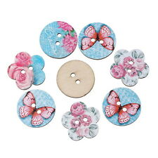 BD 50PCs Wooden Buttons Butterfly Flower Style Blue 2-hole Sewing Scrapbook DIY
