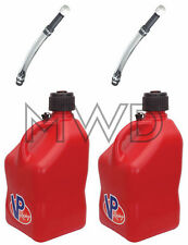 2 Pack VP 5 Gallon RED Racing Fuel Gas Can/Water Jug/Jerry Container/Deluxe Hose