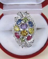 4.31 CTW RUBY, FANCY SAPPHIRE/GEMSTONE SHOOTING STARS RING sz 7 STERLING SILVER