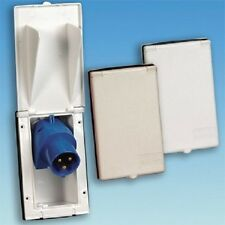 WHITE FLUSH FITTING MAINS ANGLED INLET FOR HOOK UP,CAMPING, CARAVAN, MOTORHOME,