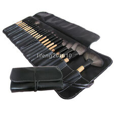24 PCS PRO black make up kit makeup brushes makeup brush set with roll up bag