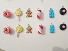 lot de 6 breloques fimo bonbons,bn,pain d'épices,set of 6 charms fimo candy, bn