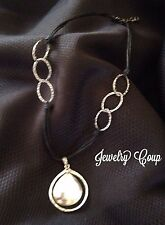 Silpada .925 Sterling Silver Oval Double Strand Leather Link Necklace N1440
