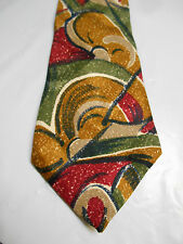 Boston Traders Brown Red Green and Cream Geometric Print Silk Necktie