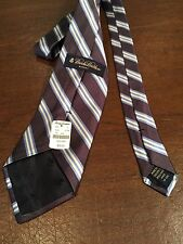New w/ Tags $59 BROOKS BROTHERS 100% Silk  Dark Purple Striped MENS TIE NECKTIE