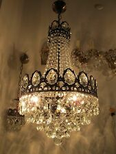 "Antique Vintage French Basket Style Crystal Chandelier Lamp 1940s 14""diameter"