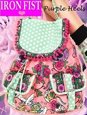 Iron Fist Sweet Tooth Floral Sugar Skull Peach Polkadot Backpack