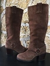 Jessica Simpson JP-NYX Tall Brown Suede Leather Harness Campus Boots EUC 8.5M