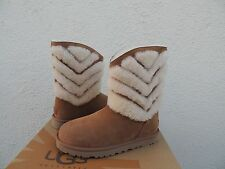 UGG TANIA CHESTNUT SUEDE SHEEPSKIN CUFF WINTER BOOTS, US 7/ EUR 38 ~ NEW