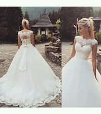UK White/Ivory Lace  Wedding dress Bridal Gown Custom made sizes