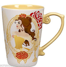 Disney Store Princess Belle Coffee Mug Beauty and the Beast Yellow 2016