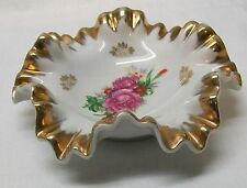 White Glass Ruffled Edge Bowl Pink Rose Gold Accent Marked Mojae China Vintage