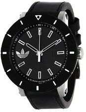 BRAND NEW ADIDAS ORIGINALS ADH2998 AMSTERDAM BLACK LEATHER STRAP 54MM MENS WATCH