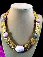 STUNNING VTG MONET GOLDTONE PINK GREEN SWIRL ACRYLIC CABOCHON COLLAR NECKLACE