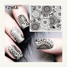 Nail Art Water Decals Stickers Transfers Stamping Black Lace Flowers Floral 8625