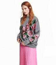 H&M Trend Conscious Oversize Floral Embroidered Wool Beaded Sweater L