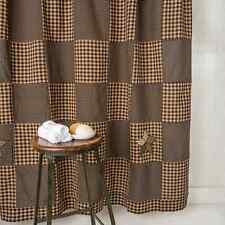 FARMHOUSE STAR Shower Curtain Black/Khaki Patchwork Block Rustic Primitive 72x72