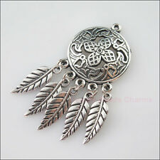 2Pcs Tibetan Silver Round Flowers Leaves Dangle Charms Pendants 22.5x49mm