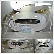 Mens or Women VINTAGE RETRO SHIELD Style SUN GLASSES Clear Lens with slight Tint