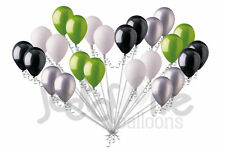 24 pc Fun Black Silver Lime Green White Latex Balloons Party Decoration Birthday