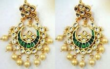 GREEN MEENA KUNDAN PEARL GOLD TONE INDIAN BOLLYWOOD CHANDBALI EARRINGS JEWELRY