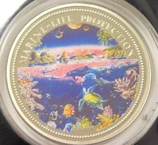 1993 REPUBLIC OF PALAU YEAR OF MARINE LIFE PROTECTION MULTICOLOR ONE DOLLAR COIN