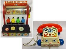 2 Vintage FISHER-PRICE PRESCHOOL TOYS: Chatter Phone #747 & Cash Register #972