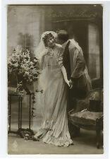 c 1913 Pretty Young Lady WEDDING BRIDE Beauty marriage photo postcard