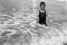Vintage Photo negative-1930-Young-cute-Boy-teen-swimsuit-play-beach-1