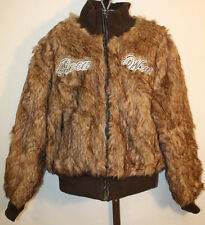 Girls Rocawear Brown Faux Fur Embroidered Logo Winter Jacket Sz 16