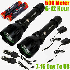 2x CREE LED 500meter 1000lumen TACTICAL RECHARGABLE POLICE FLASHLIGHT TORCH C6BK