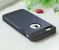 Gold PC Shockproof Dirt Dust Proof Hard Soft Cover Case For iPhone 5 5S, Navy