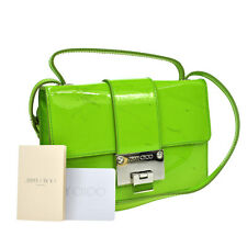 Authentic JIMMY CHOO Logos 2way Hand Bag Green Patent Leather Italy VTG B29582