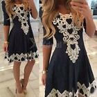 Sexy Womens Lace Crochet Hollow Bodycon Prom Ball Gown Cocktail Party Mini Dress