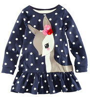 Deer Polka Dots Girl Dress Kids Clothing Long Sleeve Top T-Shirt dress 2-7Y new